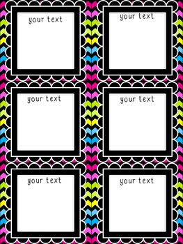 **Editable** Multi-Use Cards (Bright Chevron on Black) Freebie