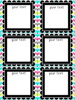 **Editable** Multi-Use Cards (Bright Chevron on White) Freebie