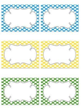 Editable {Multi-purpose} Polka Dot Classroom Labels {9 Bright Colors