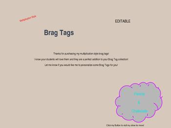 Editable Multiplication Brag Tags