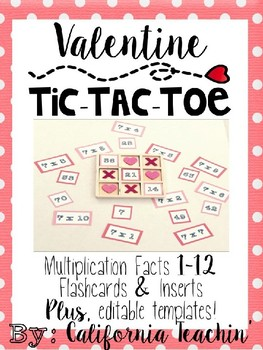 Editable Multiplication Facts Tic Tac Toe Activity