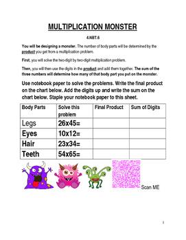 Editable Multiplication Monster Activity