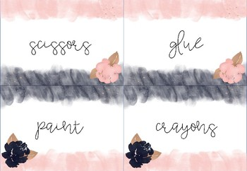 Editable Multipurpose Labels / Blush, Navy and Gold Theme