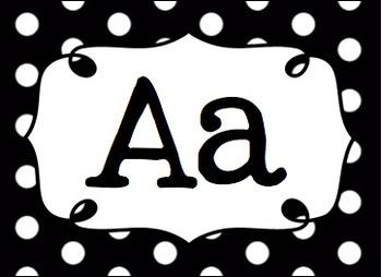 Editable Multipurpose Word Wall Cards Black Polka Dot Cards Headers