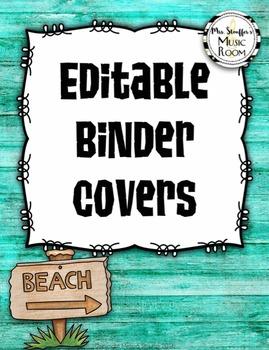 Editable Music Binder Covers {Hawaiian Beach}