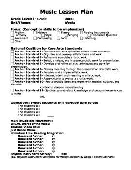 Editable Music Lesson Plan NCCAS Standards