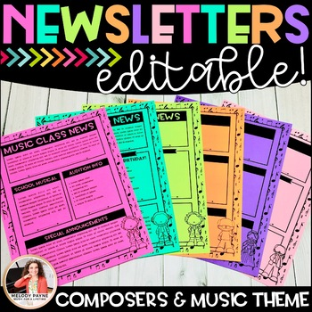 Editable Music Newsletters with Composers: {Black and White Templates}