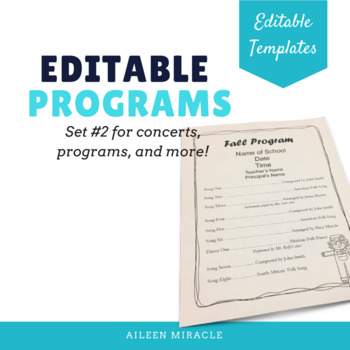 Editable Music Programs, Set 2 {Templates for programs and concerts}