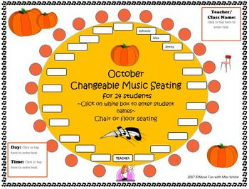 Two Editable Music Seating Charts for October