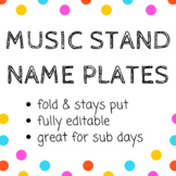 Editable Music Stand Name Plates in 5 designs - Back to Sc