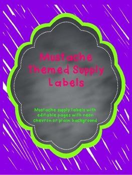 Editable Mustache Supply Labels in Neon