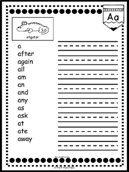 Editable My Writing Word Book - Dolch List - First Grade (Student Dictionary)
