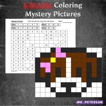 Editable Mystery Picture Animal #1 - Sight Words Spelling Vocabulary ANYTHING