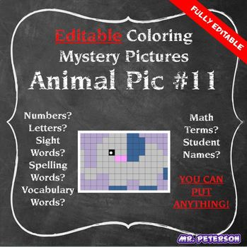 Editable Mystery Picture Animal #11 - Sight Words Spelling Vocabulary ANYTHING