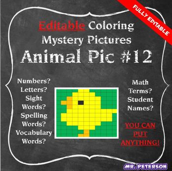 Editable Mystery Picture Animal #12 - Sight Words Spelling Vocabulary ANYTHING