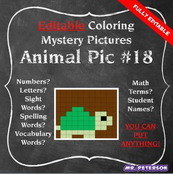 Editable Mystery Picture Animal #18 - Sight Words Spelling Vocabulary ANYTHING