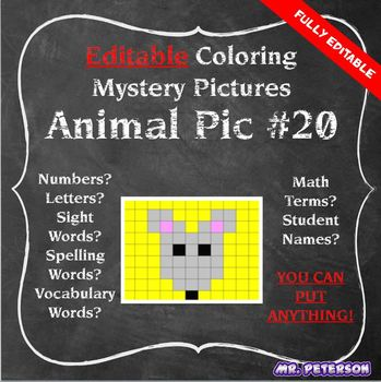 Editable Mystery Picture Animal #20 - Sight Words Spelling Vocabulary ANYTHING
