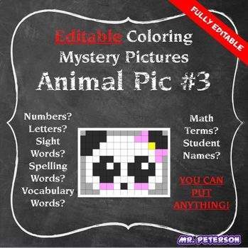 Editable Mystery Picture Animal #3 - Sight Words Spelling Vocabulary ANYTHING