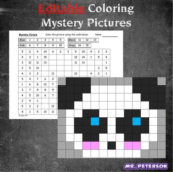 Editable Mystery Picture Animal #4 - Sight Words Spelling Vocabulary ANYTHING