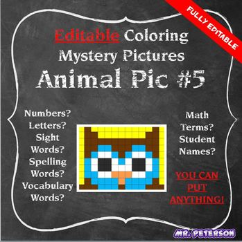 Editable Mystery Picture Animal #5 - Sight Words Spelling Vocabulary ANYTHING