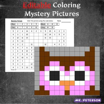 Editable Mystery Picture Animal #6 - Sight Words Spelling Vocabulary ANYTHING