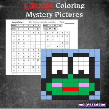 Editable Mystery Picture Animal #8 - Sight Words Spelling Vocabulary ANYTHING
