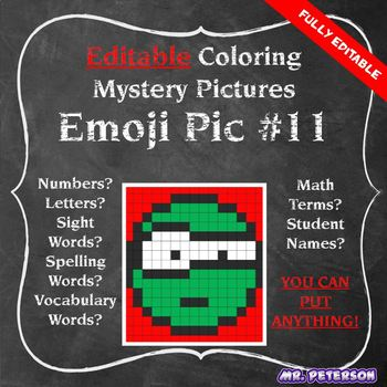 Editable Mystery Picture Emoji #11 - Sight Words Spelling Vocabulary ANYTHING