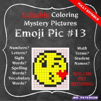 Editable Mystery Picture Emoji #13 - Sight Words Spelling Vocabulary ANYTHING