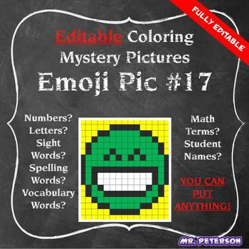 Editable Mystery Picture Emoji #17 - Sight Words Spelling Vocabulary ANYTHING