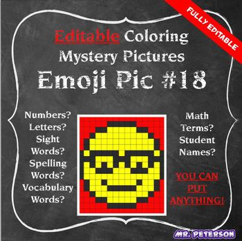 Editable Mystery Picture Emoji #18 - Sight Words Spelling Vocabulary ANYTHING