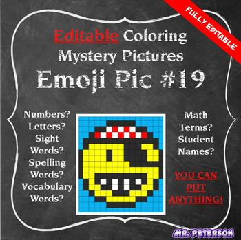 Editable Mystery Picture Emoji #19 Pirate - Sight Words Spelling Vocabulary
