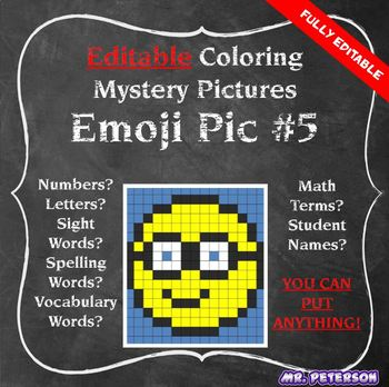 Editable Mystery Picture Emoji #5 - Sight Words Spelling Vocabulary ANYTHING