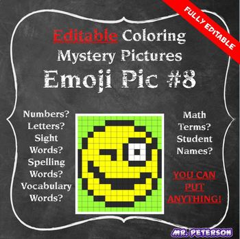 Editable Mystery Picture Emoji #8 - Sight Words Spelling Vocabulary ANYTHING