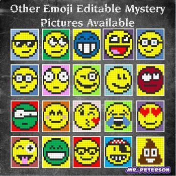Editable Mystery Picture Emoji BUNDLE Sight Words Vocabulary Spelling Math