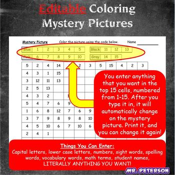 Editable Mystery Picture USA Patriotic 4th of July - Sight Words Spelling Vocab