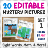 Editable Mystery Pictures - Set 1 - Color by Sight Words, Sum, & More