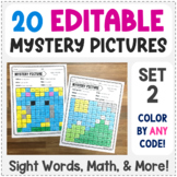 Editable Mystery Pictures - Set 2 - Color by Sight Words, Sum, & More