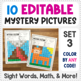 Editable Mystery Pictures - Set 3 - Color by Sight Words, Sum, & More