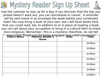 Editable Mystery Reader Sign Up Sheet and Reminder Slips