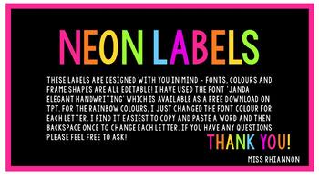 Editable NEON Day Labels - Cursive Font