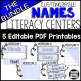 5 Name Activities Bundle-Editable Differentiated Literacy Centers {English}