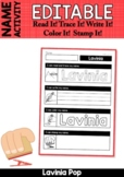 Editable Name Activity: Read It! Trace It! Write It! Color It! Stamp It!