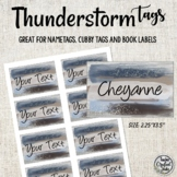 Editable Name Badge Tags | Thunderstorm Classroom Book Bin Labels