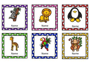 Editable Name Badges / Tags - Animals