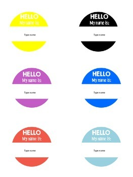 Editable Name Buttons for Back to School and Field Trips