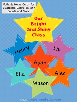 Back to School Classroom Decor Editable Name Tags and Cards
