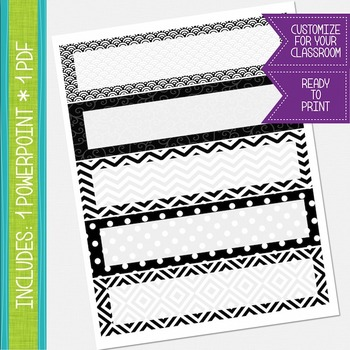 Name Labels / Desk Plates - Black and White {EDITABLE}