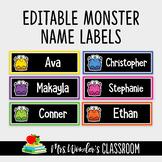 Editable Name Labels, Classroom Decor, Classroom Labels, Monster Theme Labels