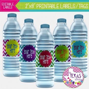 Water Bottle Labels - Neon Chevron {EDITABLE}