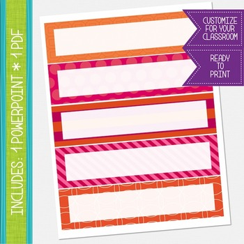 Name Labels / Desk Plates - Hot Pink and Orange {EDITABLE}